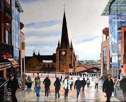 Birmingham City shoppers Painting by Byron Bailey