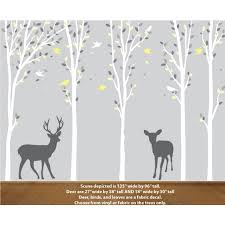 Deer In Forest Decal For Yellow Nursery
