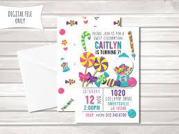 Invitacion De Cumpleanos De Caramelo Invitacion Dulce Etsy