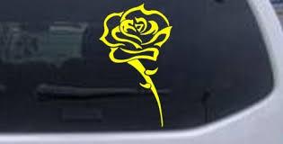 Single Open Rose Car Window Wall Laptop Decal Sticker Yellow 40in X 23 5in Anu Ollanketoka