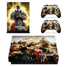 Gears Of War Skin Sticker For Microsoft Xbox One X Console And 2 Controllers For Xbox One X Skin Sticker Vinyl Consoleskins Co