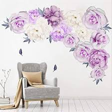 Amazon Com Peony Flowers Wall Sticker Rose Floral Wall Decals Vintage Flower Wall Decor Removable Wall Mural For Nursery Living Room Arts Crafts Sewing