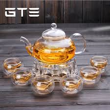 gte clear glass borosilicate teapot set