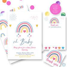 Invitacion De Baby Shower De Arco Iris Bs86 En 2020 Invitacion
