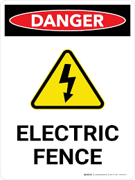 Danger Electric Fence With Hazard Icon Portrait Wall Sign Creative Safety Supply