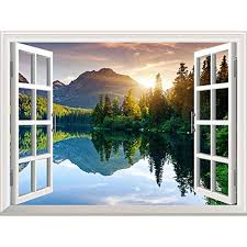 Wall26 Peaceful Landscape With Lake And Mountains Out Of The Open Window Removable Wall Mural Sticker Home Decor 24x3 Large Wall Murals Wall Murals Mural