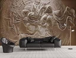 3d Embossed Look Cement Female Sculpture Wallpaper Mural Wallmur
