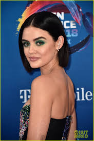 lucy hale goes glam in green eye makeup