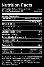 casein protein nutrition label