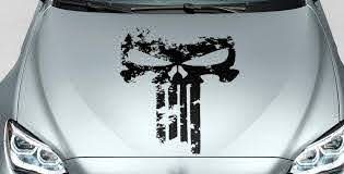 Product Punisher Skull Distressed Blood Hood Side Vinyl Decal Sticker For Car Track Suv 22
