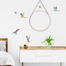 Flying Tropical Parrots Plastic Free Wall Stickers For Happy Kids Rooms Made Of Sundays