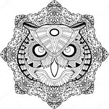 Coloring Page For Adults Stern Owl On A Background Of A Circular