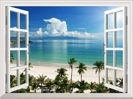 White Beach With Blue Sea And Palm Tree Open Window Mural Wall Sticker 36 X48 For Sale Online Ebay