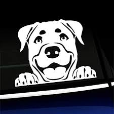 Love My Dog Car Decal Rottweiler Peeking Window Decal