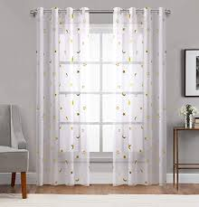 Amazon Com Gold Star Print Curtains For Nursery Kids Bedroom Cute Twinkle Stars With White Trasparent Voile Window Drapes For Living Room Grommet 2 Panels 54 W By 63 L Inch Curtain By