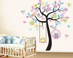 Owl Swing On The Flower Tree Children Vinyl Wall Decals Nursery Sticker