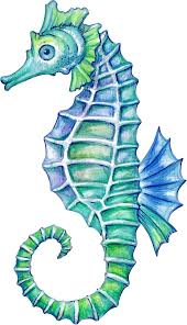 Beautiful Life Like Blue Ocean Life Illustration Cartoon Seahorse Vi Shinobi Stickers