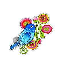 Blue Bird Sticker Colorful Flowers Car Decal Laptop Decal Wall Etsy