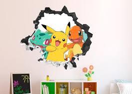 Group Action Pokemon Wall Decal Decor Kids Sticker Vinyl Etsy