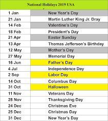 Public Holidays 2019 for USA
