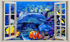 Aquirium Dolphin Coral Fish Removable Wall Art Stickers Vinyl Kids Decal Decor For Sale Online