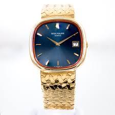 Patek Philippe Mens Jumbo Ellipse TV Screen 18k Gold Watch & Box ...