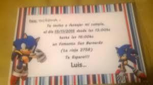Sonic Boom Sonic Para Lapiz Invitaciones De Cumpleanos