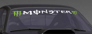 M Green Monster Custom Vinyl Sticker Windshield Banner Decal Monster Custom Vinyl Stickers Monster Truck Cars Windshield