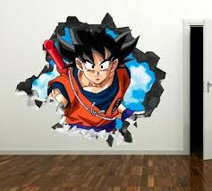 Dragon Ball Z Goku Vegeta Blue Wall Decal Kids Smashed 3d Sticker Art Vinyl Gs83