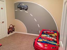 My Sons Disney Cars Bedroom With Road Mural I Painted Disney Cars Bedroom Toddler Boys Room Cars Room Cars Bedroom Decor Disney Cars Bedroom