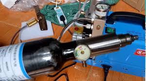 bơm máy cao áp pcp , tét bơm máy cao áp vào bình hơi pcp - YouTube