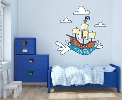 Custom Name Initial Pirate Ship Wall Decal Egraphicstore