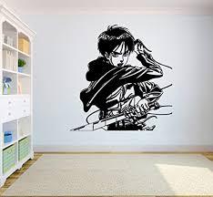Attack On Titan Wall Vinyl Decal Cartoon Anime Wall Art Eren Yeager Vinyl Sticker Decor For Home Bedroom Sc4 22x23 Amazon Com