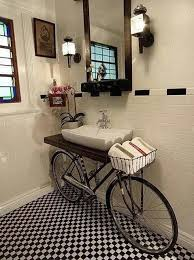 bike themed small bathroom decor mod