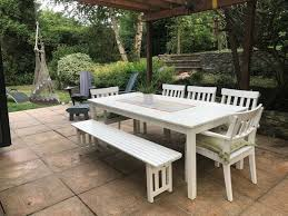 ikea white wood garden table chairs