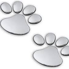 Amazon Com 2 Pair Credible Unique 3d Pets Paw Car Sticker Dog Foot Prints Truck Decor Animal Decal Cars Bumper Patches Decals Laptop Macbook Luggage Hoverboard Bike Graphics Window Wall Stickers Colors Silver