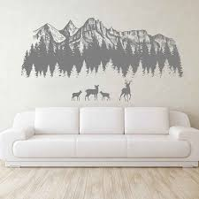 Woodland Wall Decals Mountain Forest Silhouette Wall Decals Deer Mountain Wall Art Nursery Decor Woodland Baby Room 3122 Wall Stickers Aliexpress