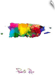 Amazon Com Canvas On Demand Puerto Rico Watercolor Map Wall Decal 12 X16 Home Kitchen