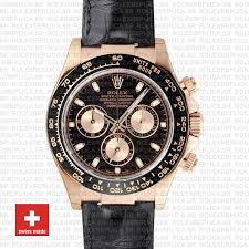 rolex daytona rose gold leather black