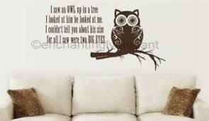 I Saw An Owl Up In A Tree Vinyl Decal Wall Sticker Teen Room Kitchen Living Room Ebay