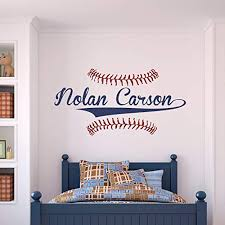 Amazon Com Custom Name Baseball Wall Decal Boys Personalized Name Baseball Wall Sticker Custom Name Sign Custom Name Stencil Monogram Boys Room Wall Decor Handmade