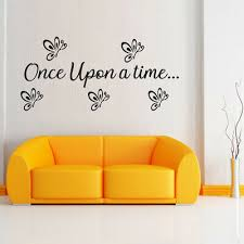 Once Upon A Time Wall Decal Quote Crown Sticker Nursery Girls Decor F57
