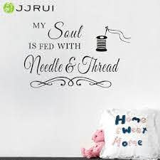 Sewing Craft Room Soul Needlethread Saying Vinyl Wall Decals Quote Art Decor Wall Sticker Bedroom Living Room Vinyl Decal Vinyl Wall Decals Wall Decalsvinyl Decal Aliexpress