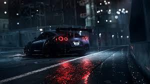 dark night rain car nissan gt r