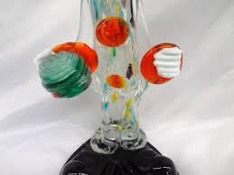 large murano art glass clown holding ball