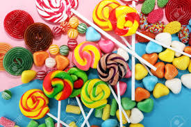 Caramelos Con Gelatina Y Azúcar. Variedad Colorida De Dulces Y ...