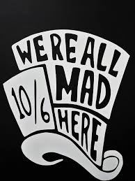 Chase Grace Studio We Re All Mad Here Cheshire Cat Mad Hatter Alice In Wonderland Vinyl Decal Sticker White Cars Trucks Suvs Laptops 5 5 X 4 75 Cgs1122 Decals Magnets Bumper Stickers Amazon Canada