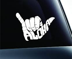 Amazon Com Expressdecor Aloha Shaka Hand Symbol Decal Funny Car Truck Sticker Window Automotive