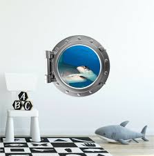 Stick It Graphix Hammer Head 1 Shark Porthole Window Wall Decal Kids Ocean Jaws Decor Portscape