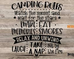 Camping Rules Decal Etsy